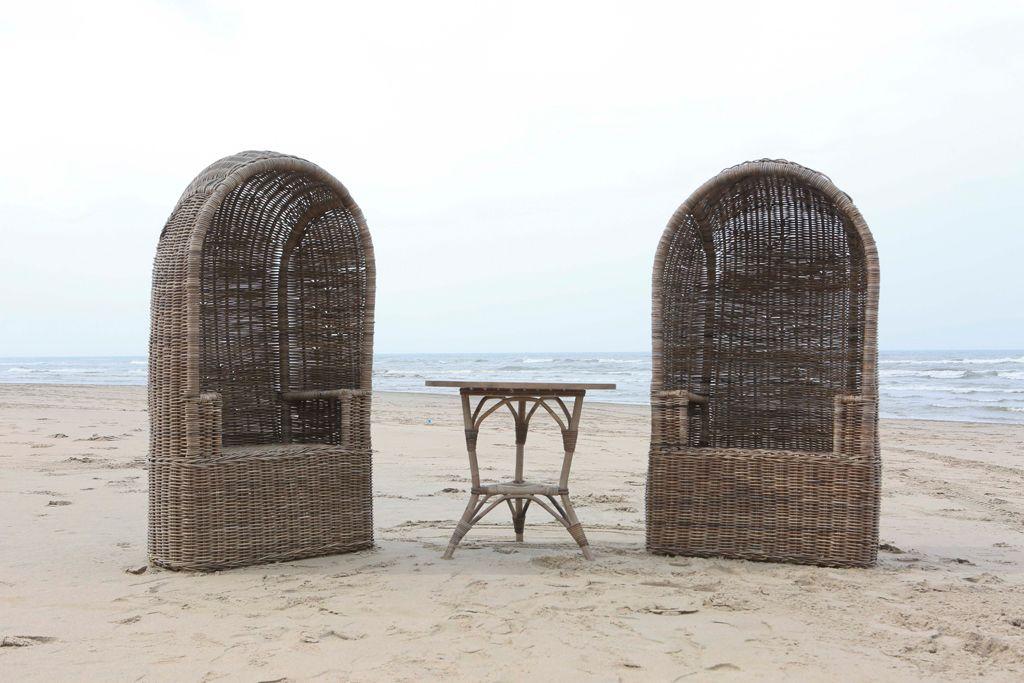 Rotan strandstoel Jumbo grijs
