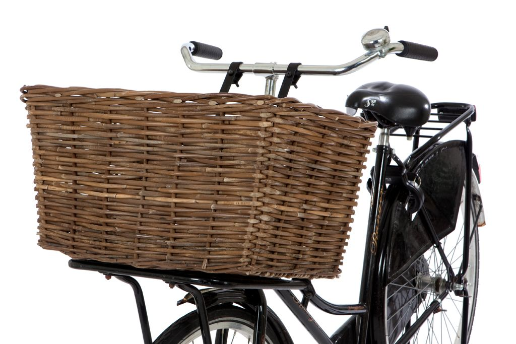 Rieten fietsmand grijze kubu