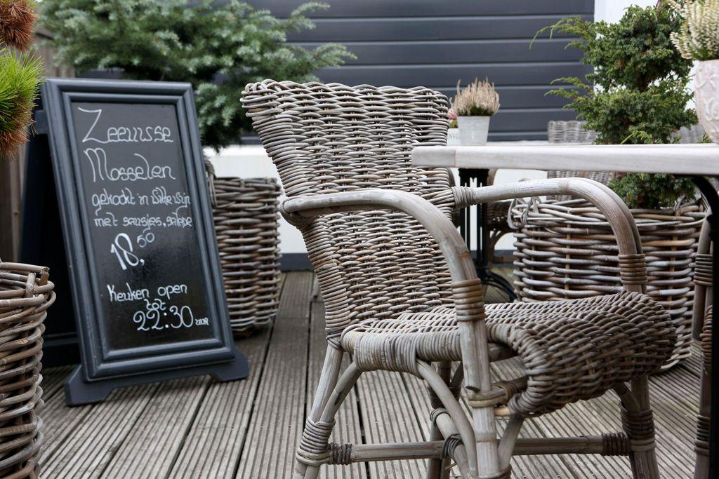 Rotan terrasstoel Luik grijze kubu