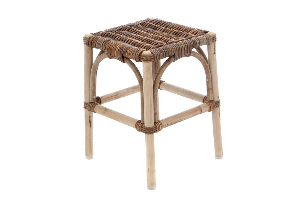 Hocker Rattan Grau