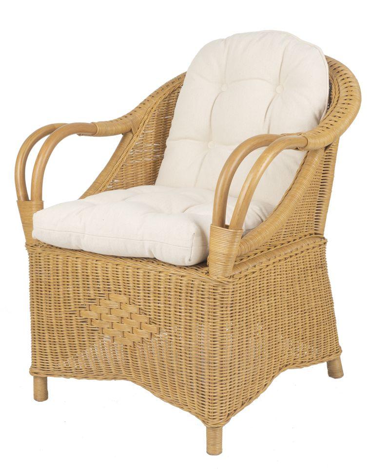 Rieten fauteuil Riva honing kleur