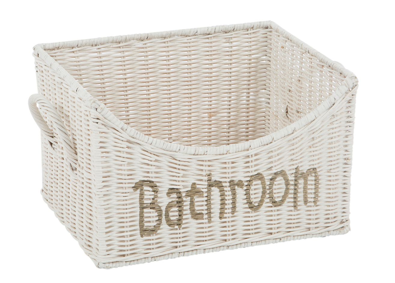 Rieten badkamer mand wit - Badkamermanden