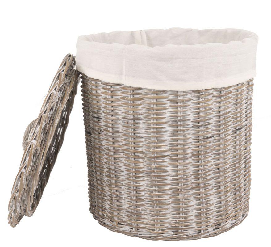 Rattan Wäschekorb white Wash