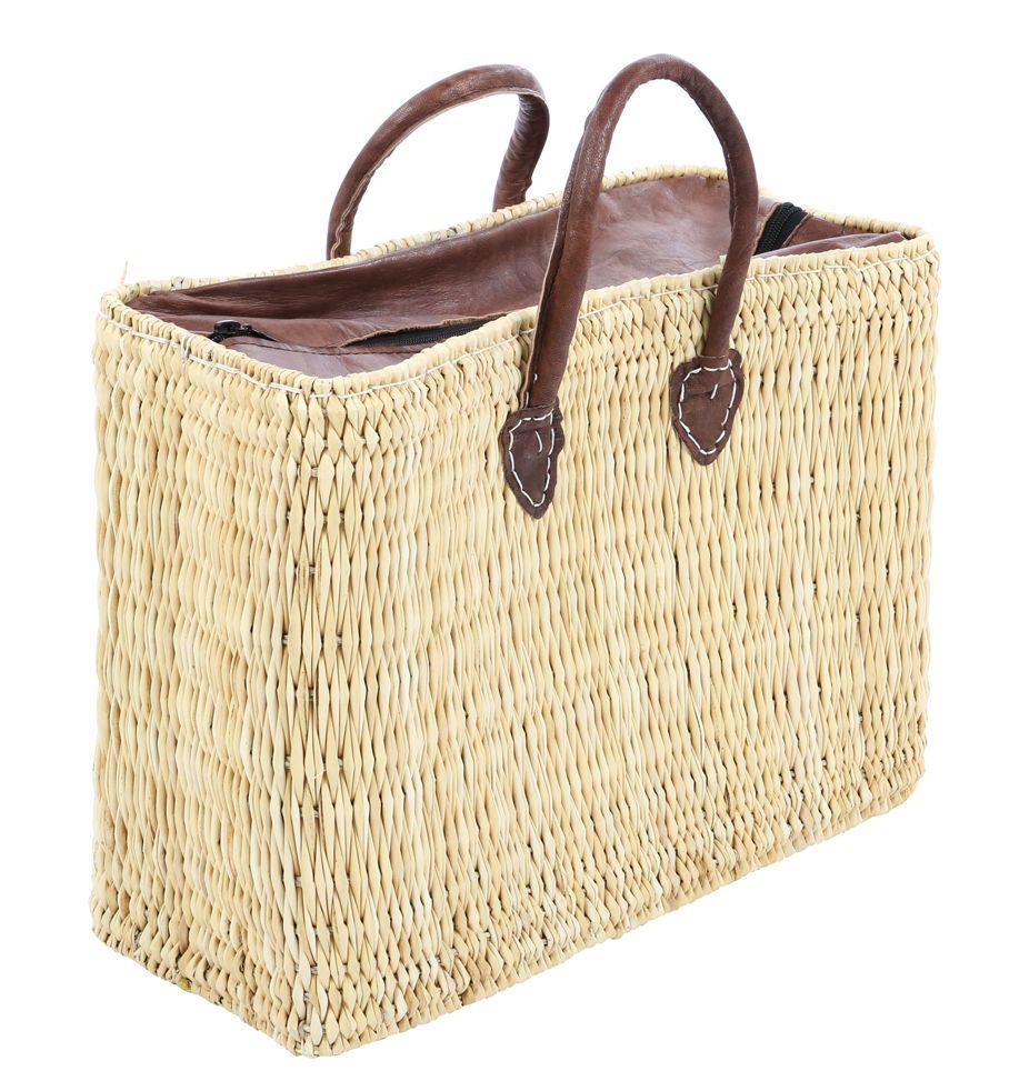 Rieten Boodschappentas : Rieten tas met rits tassen