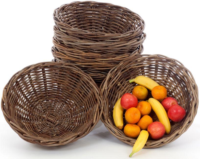 Rieten fruitschaal grijze kubu