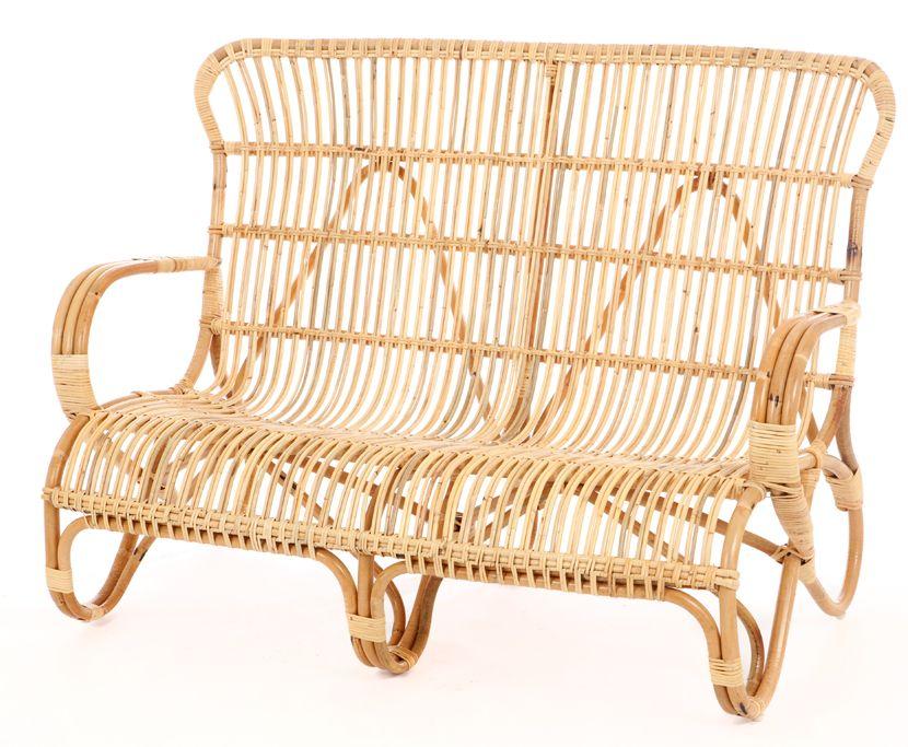 Vintage Rattan Sofa Belse hoch