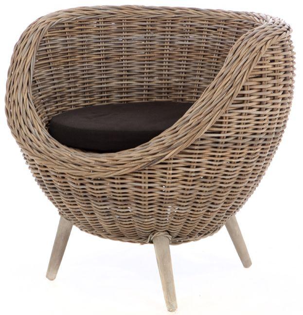 Rieten fauteuil Egg grijze kubu
