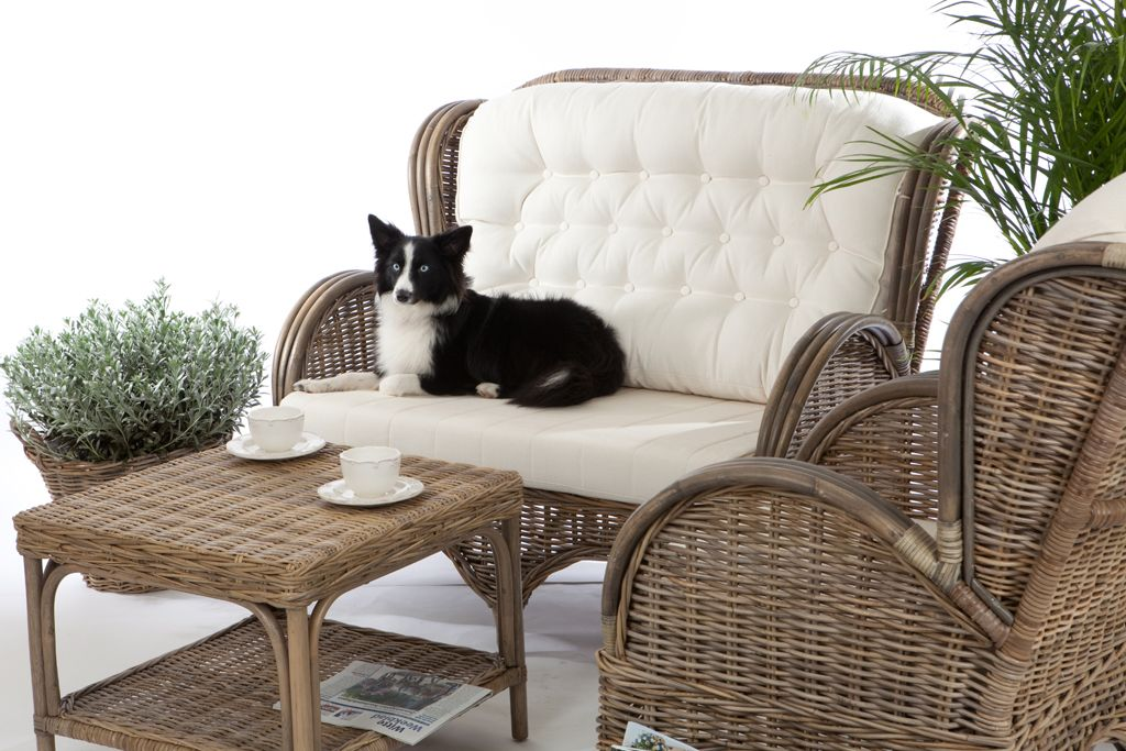 Rieten fauteuil Florida grijze kubu