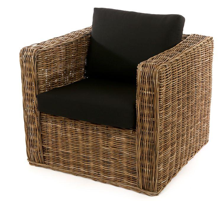 Rieten fauteuil vierkant